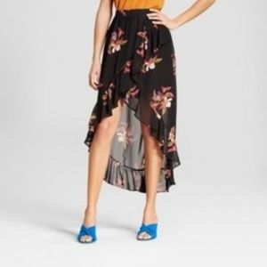 A New Day Women's Floral Ruffle Wrap Skirt - Black